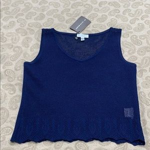 St. John Sport by Marie Gray Navy Mesh Tank Top